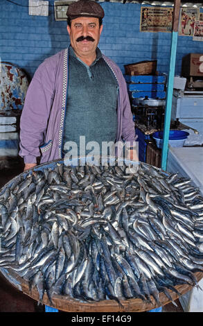 A Turkish fisherman sells his daily catch of fresh sardines at Dikili, Turkey, a seaport on the Aegean Sea. In this - Stock Photo
