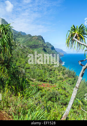 Hikers on the Kalalau Trail on Kauai - Stock Photo