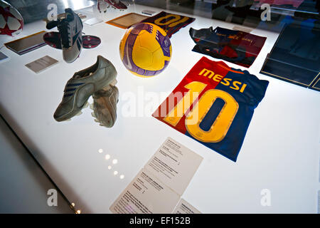 BARCELONA - SPAIN, DECEMBER 19: The FC Barcelona museum inaugurated on 24 September 1984.The museum occupies 3,500 - Stock Photo