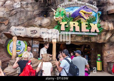 Orlando Florida Lake Buena Vista Downtown Disney shopping dining entertainment T-Rex restaurant entrance dinosaur - Stock Photo