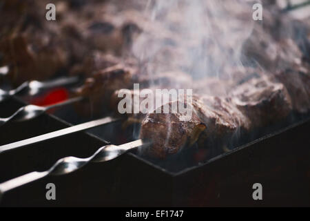 Meat roasted on fire barbecue kebabs on the grill - Stock Photo