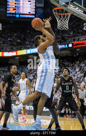 Chapel Hill, NC, USA. 24th Jan, 2015. UNC F Kennedy Meeks (3) during the NCAA Basketball game between the Florida - Stock Photo