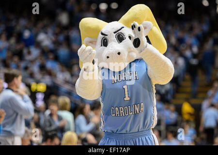 Chapel Hill, NC, USA. 24th Jan, 2015. The UNC mascot during the NCAA Basketball game between the Florida State Seminoles - Stock Photo