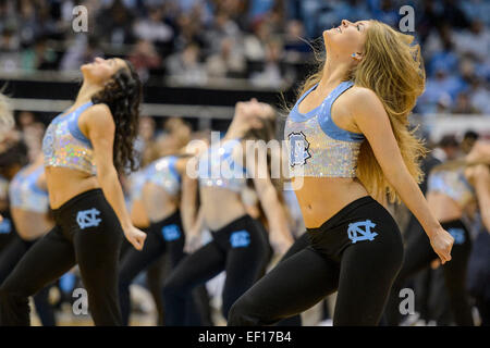 Chapel Hill, NC, USA. 24th Jan, 2015. UNC dancers perform during the NCAA Basketball game between the Florida State - Stock Photo
