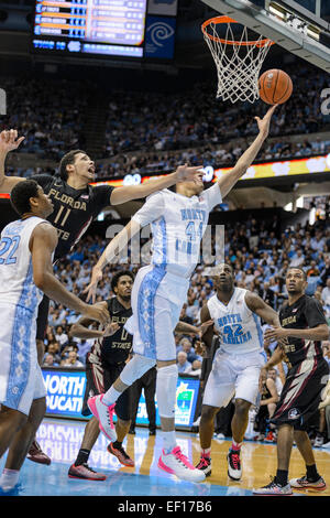 Chapel Hill, NC, USA. 24th Jan, 2015. UNC G-F Justin Jackson (44) during the NCAA Basketball game between the Florida - Stock Photo