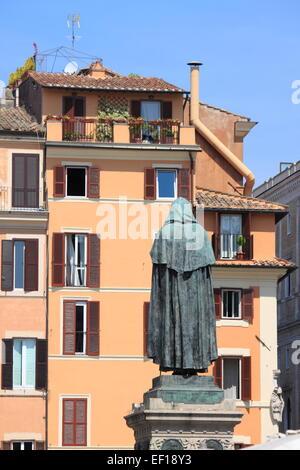 Giordano Bruno statue in Campo dei Fiori square in Rome, Italy - Stock Photo
