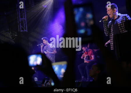 02 Academy, London, UK. 24th January, 2015. Stereo Kicks were finalist in the 2014 X Factor TV talent show getting - Stock Photo