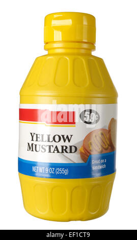 Plastic bottle of yellow mustard - Stock Photo