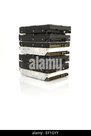A stack of 3,5 inches hard drives. Isolated on white background. - Stock Photo