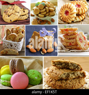 collage of different kinds of cookies (almond, ginger, oat, chocolate) - Stock Photo
