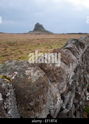 Lindisfarne Castle on The Holy Island of Lindisfarne - Stock Photo