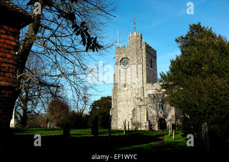 st mary's church in the village of chilham in county of kent uk january 2015 - Stock Photo