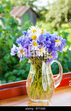 bouquet of blue cornflowers and daisies in jug on windowsill - Stock Photo