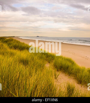 Deserted beach, Ross Sands, Northumberland, England - Stock Photo