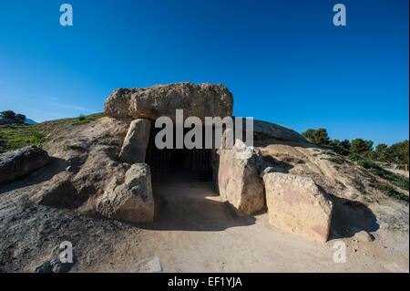 Dolmen of Menga, a megalithic burial mound located near Antequera, Málaga, Spain. - Stock Photo