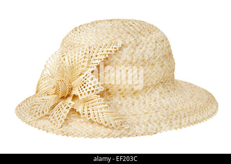 straw hat, isolated on white - Stock Photo