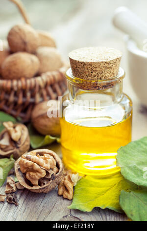 Walnuts, bottle of essential oil and wicker basket with nuts on old kitchen table. - Stock Photo