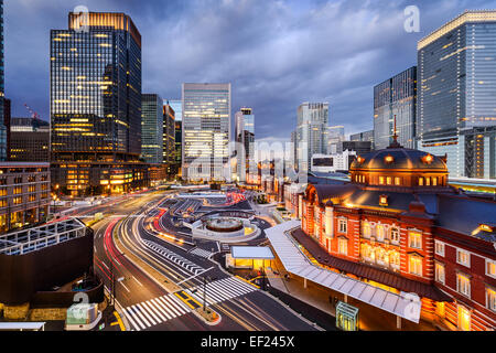 Tokyo, Japan cityscape in the Marunouchi District and Tokyo Station. - Stock Photo