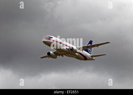 A Sukhoi Superjet 100, RA-97005, from the Sukhoi Company, Komsomolsk-on-Amur, Russia, at the RIAT, RAF Fairford, - Stock Photo