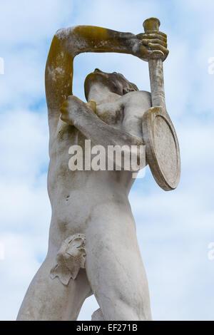 sculpture of a tennis player, Mennea Stadium, Rome, Italy - Stock Photo