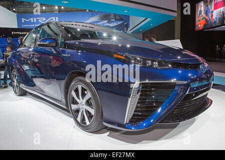 Detroit, Michigan - The 2016 Toyota Mirai hydrogen fuel cell vehicle on display at the North American International - Stock Photo