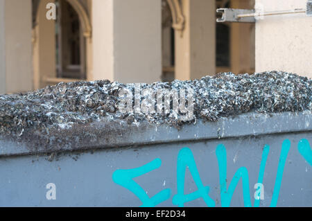 Pigeon droppings making a mess on an electrical cabinet north east England UK - Stock Photo
