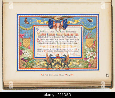 Addresses Presented to Lord Carrington Governor of New South Wales 1886 No. 2, Ball Invite from American Citizens - Stock Photo