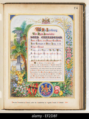 Addresses Presented to Lord Carrington Governor of New South Wales 1886 No. 2, Address From the Freemasons of Victoria - Stock Photo