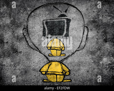 man with television head insight another man - Stock Photo