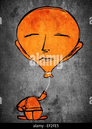 sleeping orange man with balloon head - Stock Photo