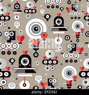 seamless pattern bright fun graphics lovers robots - Stock Photo