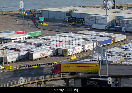 Lorries queuing before embarkation at Port of Dover, Kent, UK. - Stock Photo