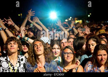 BENICASSIM, SPAIN - JULY 18: Crowd at FIB Festival on July 18, 2014 in Benicassim, Spain. - Stock Photo