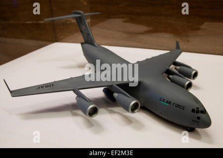Model of Boeing C-17 Globemaster III military transport aircraft used by US Air National Guard - USA - Stock Photo