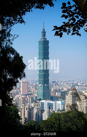 Taipei, Taiwan - Dec 30, 2014: View of Taipei 101 from the Elephant Mt. in Taipei.  Nangang District Hiking Trail - Stock Photo