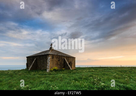 St Aldhelm's Chapel in evening light, Dorset, United Kingdom - Stock Photo