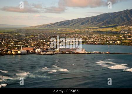 Aerial view of Kahului, Maui, Hawaii - Stock Photo