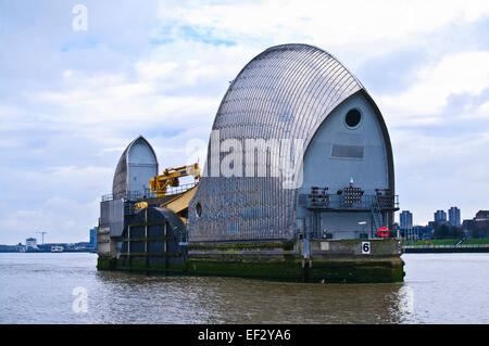 Close-up view of one of the Thames Barrier floodgates, seen from the river Thames, Woolwich, London UK - Stock Photo