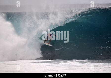 Kelly Slater surfing pipeline, North Shore, Oahu, Hawaii Stock Photo