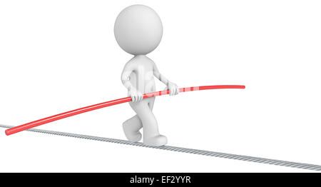 The Dude balancing on a wire. Isolated. - Stock Photo