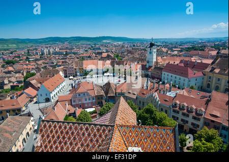 Overlooking the city, Sibiu, Romania - Stock Photo