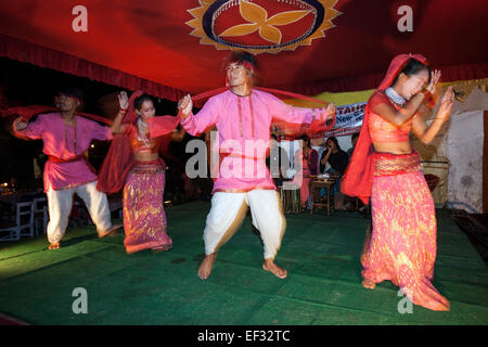 Dance group performing at the Pokhara Street Festival, Pokhara, Nepal - Stock Photo