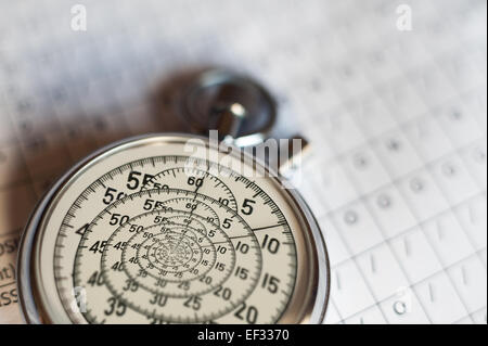 old silver chrome stopwatch with seconds and minute hands 5 second count down chronological timer glass dial buttons spiral