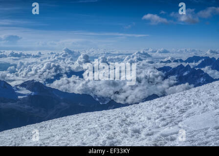 Breathtaking view from near top of Huayna Potosi mountain in Bolivia - Stock Photo