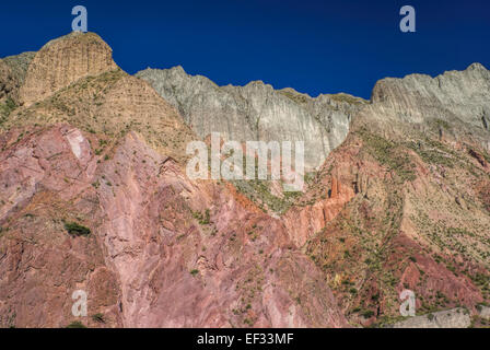 Colorful cliffs in valley Quebrada de Humahuaca in Argentina, Jujuy province - Stock Photo