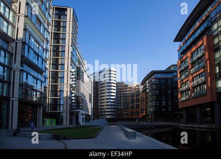 Paddington Basin new development junction Regent's and Grand Union Canal - Stock Photo