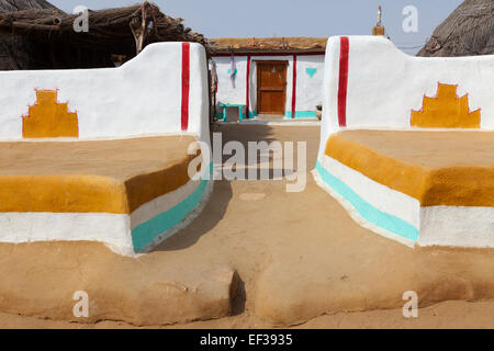 traditionally painted house made with mud in a village of Khuri ,Jaisalmer,Rajasthan - Stock Photo