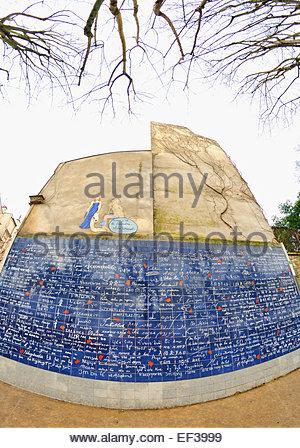PARIS - MAR 3: The I love you wall of Paris (Le mur des je t'aime). - Stock Photo