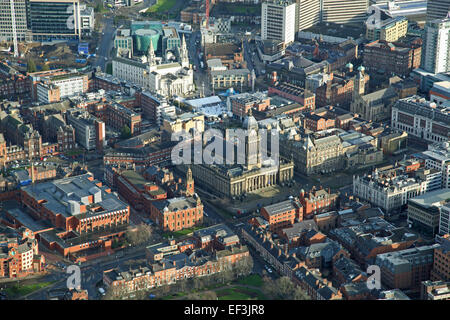 a wintery view of Leeds city centre with the Town Hall and Civic Hall prominent - Stock Photo