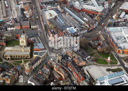 aerial view of Wigan town centre including Parish Church and Wallgate, Lancashire, UK - Stock Photo